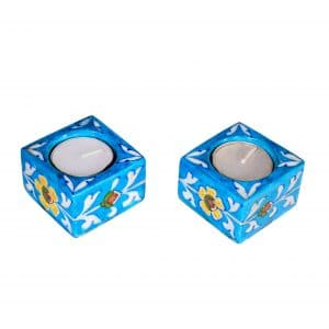 handmade blue pottery tealight holder sold by Ethiqana a shop specialising in eco friendly products, earth friendly products and sustainable products.